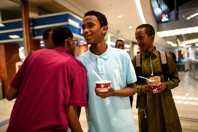 Mohamed was greeted and congratulated by Mahammed Abdullahi while Ahmed wandered Mall of America with friends as part of their Eid celebrations in Minneapolis.
