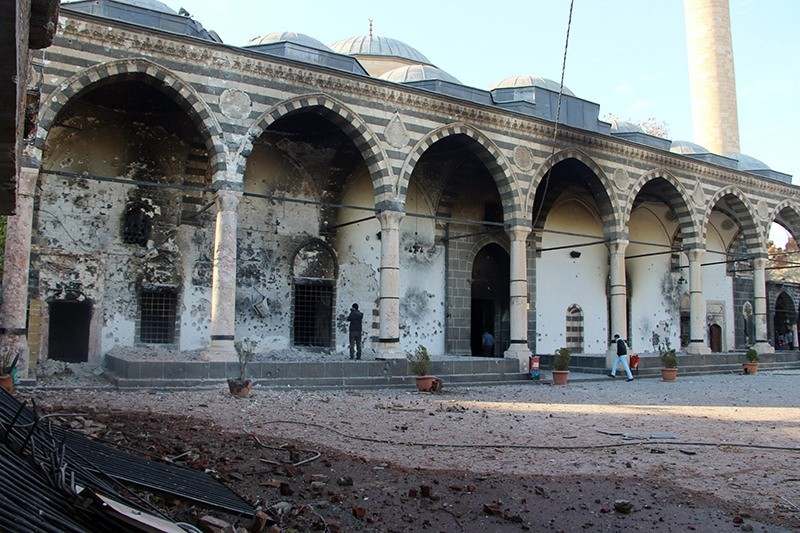 Remains of century old Mosque, after PKK arson