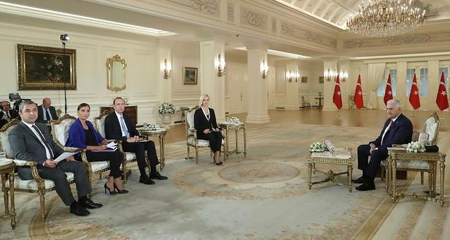 Prime Minister Binali Yıldırım speaks at a televised interview in Ankara, Turkey, on Monday, September 25, 2017. (AA Photo)
