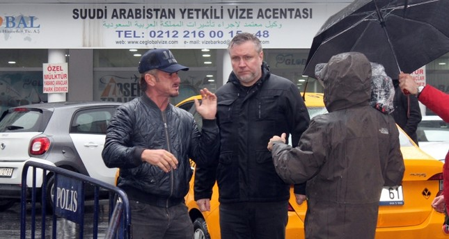 Actor Sean Penn visiting Saudi Arabia consulate in Istanbul on Dec. 5, 2018. IHA Photo