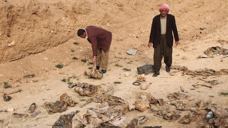 Members of the Yazidi sect look for the remains of their relatives in a mass grave on the outskirts of the town of Sinjar, February 3, 2015 (Reuters File Photo)