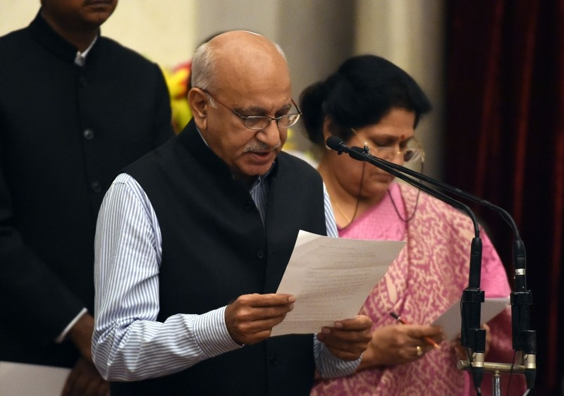 In this file photo taken on July 5, 2016 BJP politician M.J. Akbar takes the oath during the swearing-in ceremony of new ministers following at the Presidential Palace in New Delhi. (AP Photo)