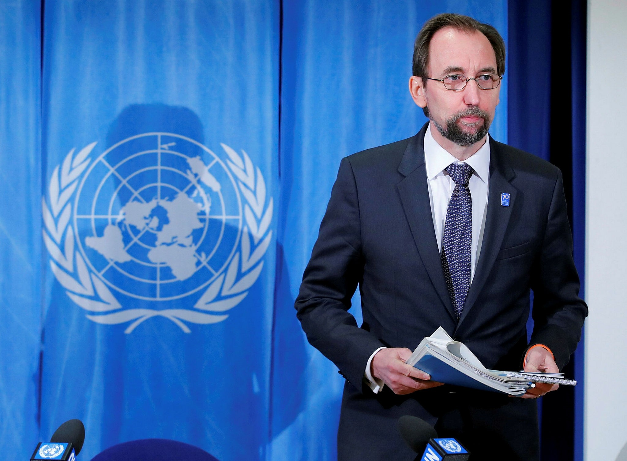 Zeid Ra'ad al-Hussein, U.N. High Commissioner for Human Rights arrives for a news conference at the United Nations in Geneva, March 9.