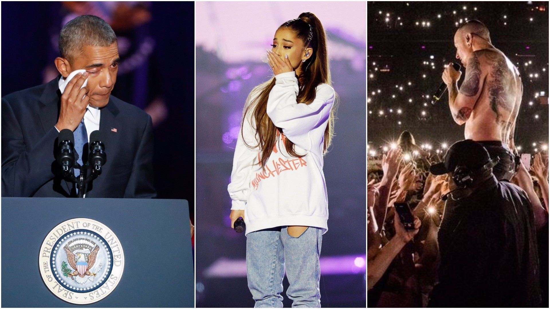 (L-R): Obama giving his farewell speech, Ariana Grande at the Manchester benefit concert, Linkin Park's C. Bennington. (EPA/AP/Twitter Photo)