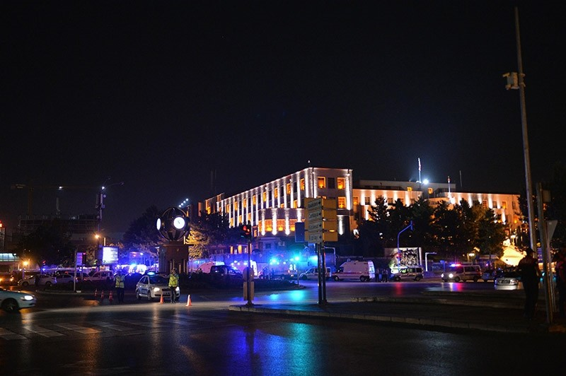 Turkish General Staff headquarters, surrounded by police vehicles and ambulances, seen during the July 15 coup attempt. (Photo: Sabah / Ali Ekeyu0131lmaz)