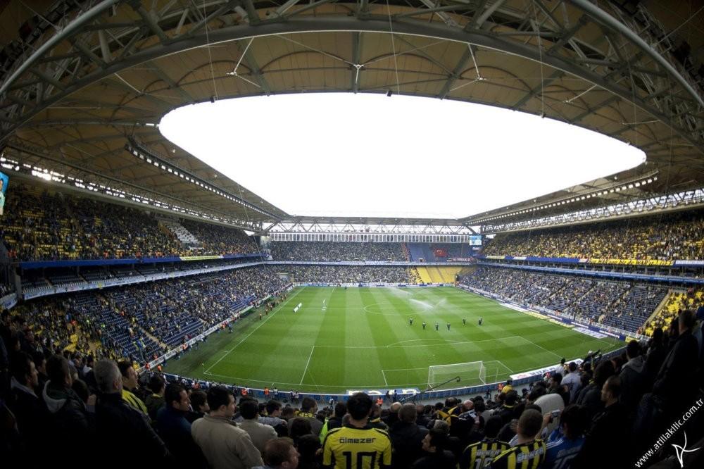 Fans at one of Turkey's leading football clubs Fenerbahu00e7e's u015eu00fckru00fc Sarau00e7ou011flu stadium.