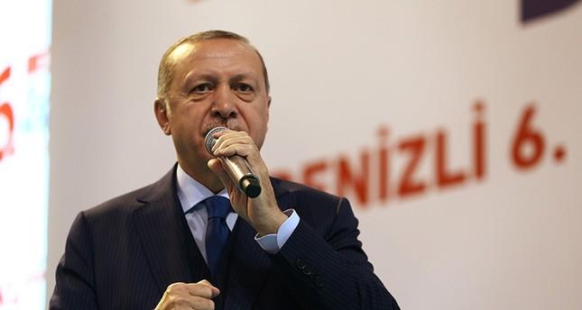 President Erdoğan addresses a crowd at an AK Party convention in Denizli province IHA Photo
