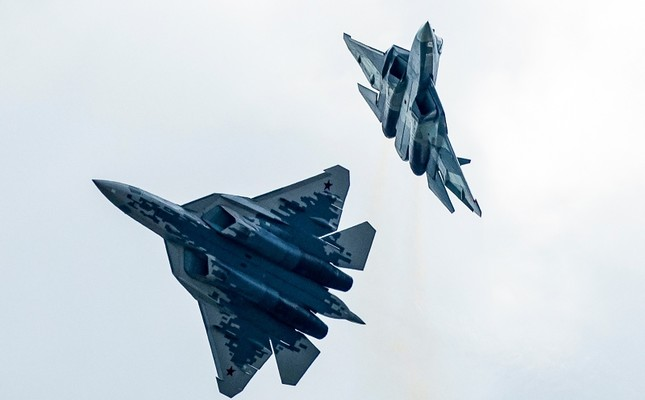 In this file photo taken on Tuesday, Aug. 27, 2019, Russian Air Force Sukhoi Su-57 fifth-generation fighter jets perform during the MAKS-2019 International Aviation and Space Show in Zhukovsky, outside Moscow, Russia. AP Photo