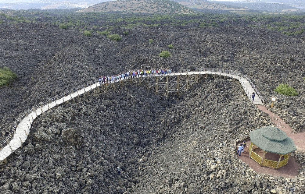 The geopark area, which was created by lava from volcanic eruptions that occurred 10,000 years ago, offers a unique landscape for visitors to explore.