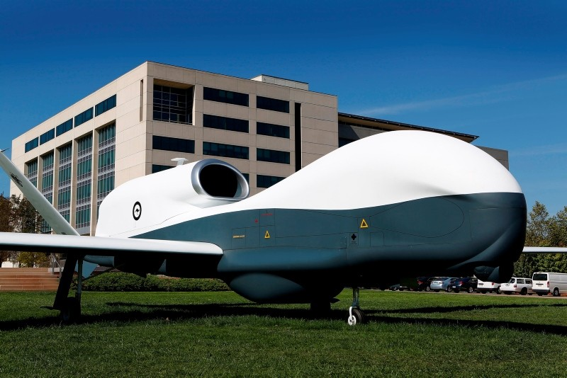 This handout photo taken April 2, 2014 and received from the Australian Department of Defense on June 26, 2018, shows a full scale mock up of the MQ-4C Triton Unmanned Aerial Vehicle in Canberra, Australia. (AFP Photo)