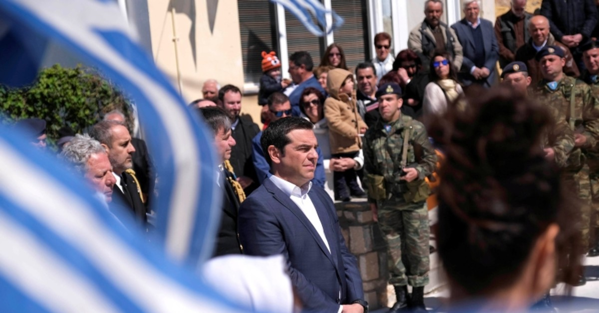 Greek Prime Minister Alexis Tsipras attends a student parade marking Greece's Independence Day, during his visit on the island of Agathonisi, Greece March 25, 2019 (Reuters Photo)