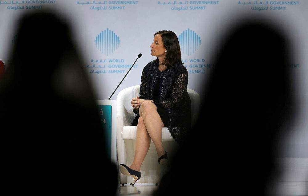 Adena Friedman, President and Chief Executive Officer Nasdaq, talks about ,How to Tame a Volatile Market, during the World Government Summit in Dubai, United Arab Emirates, Monday, Feb. 12, 2018. (AP Photo)