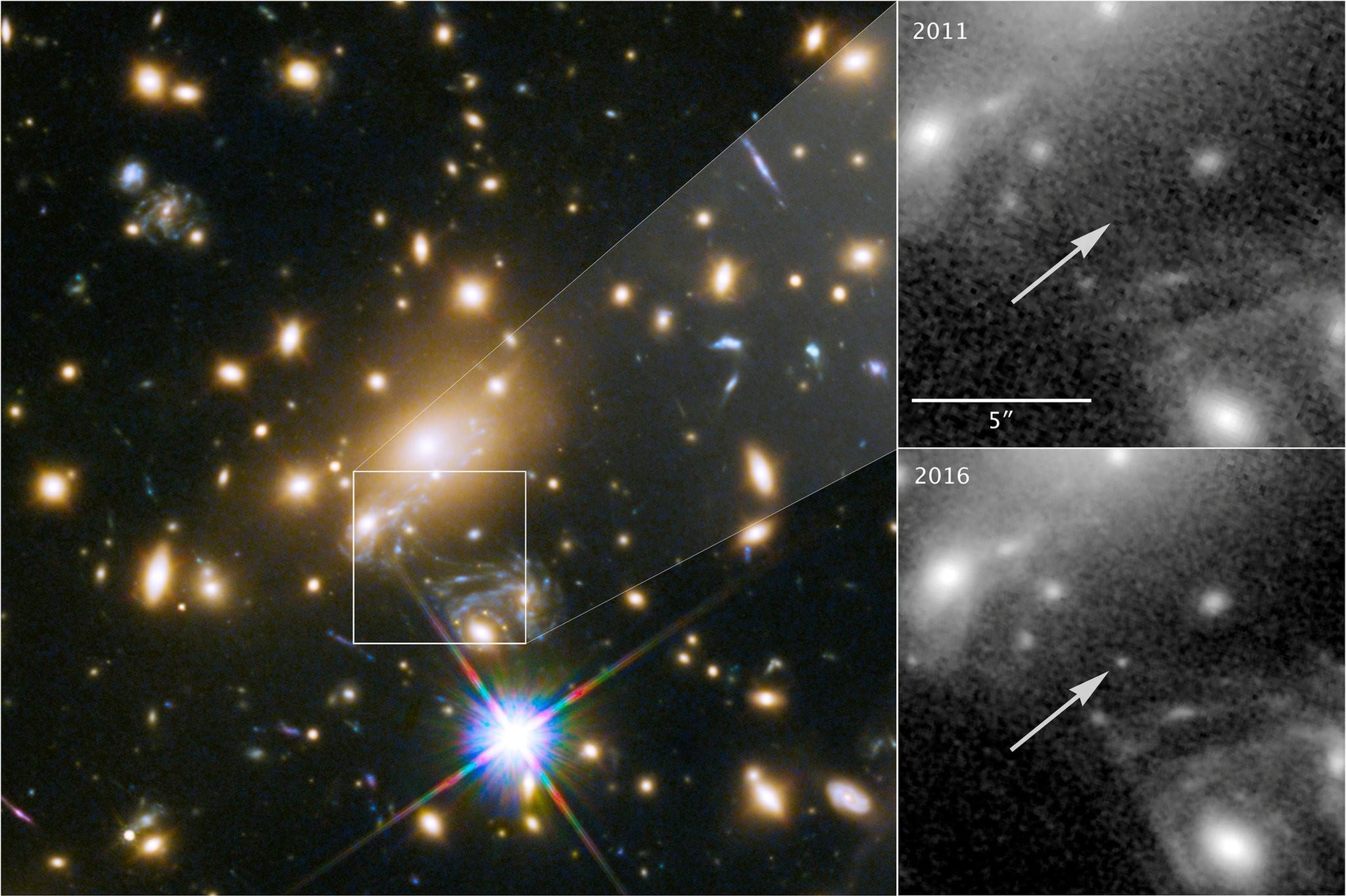 NASAu2019s Hubble Space Telescope image of a blue supergiant star the Icarus, the farthest individual star ever seen, is shown in this image released Apr. 2, 2018 (Reuters Photo)