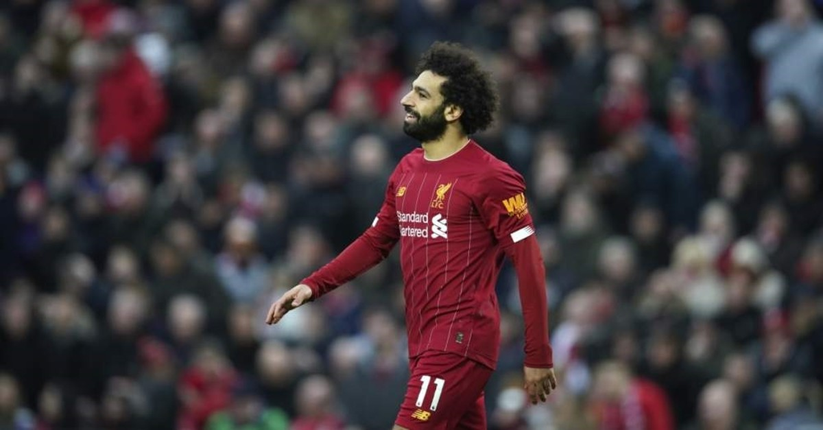 Liverpool's Mohamed Salah during an English Premier League match against Southampton at Anfield Stadium, Feb. 1, 2020. (AP Photo)