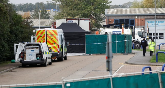 Police is seen at the scene where bodies were discovered in a lorry container, in Grays, Essex, Britain October 23, 2019. (Reuters Photo)