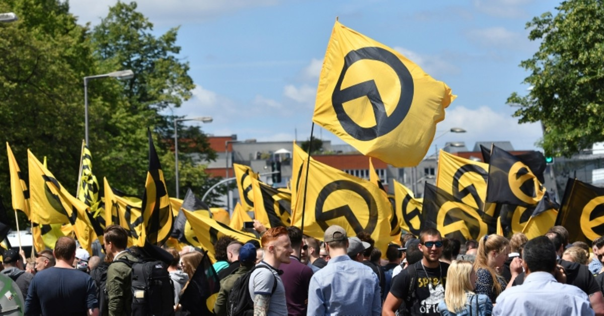 In this June 17, 2017 file photo, activists of the Identitarian Movement protest in Berlin, Germany. (AP Photo)