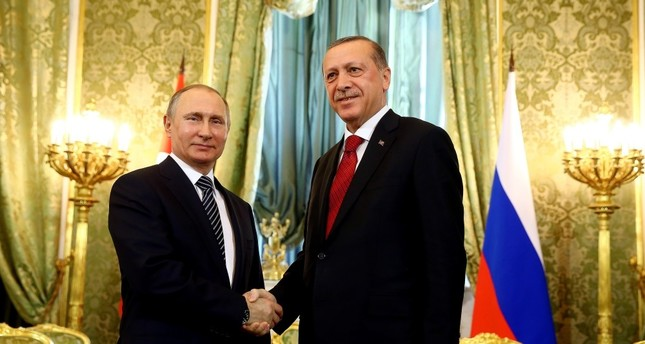 Putin (L) & Erdoğan pose for press during Erdoğan's March 10 Russia visit. Although relationship between Turkey & Russia was tense after downed Russian jet, Putin reassured Erdoğan Russia was on Turkey's side against coup plotters, mending relations.