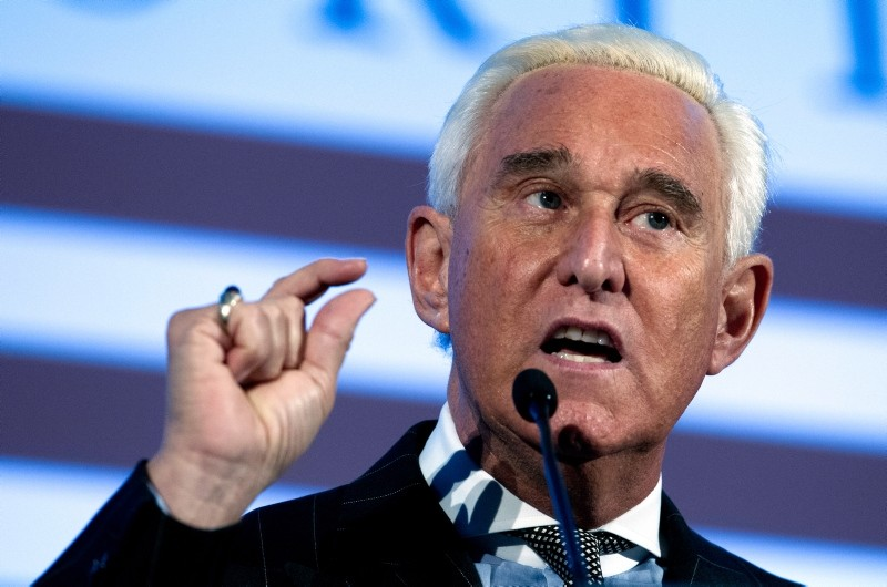 In this Dec. 6, 2018, file photo, Roger Stone speaks at the American Priority Conference in Washington. (AP Photo)