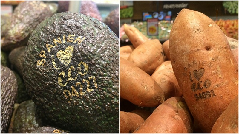 Something high-tech is happening in Swedish supermarkets, where laser marks have replaced labels on organic avocados and sweet potatoes. (AP Photo)