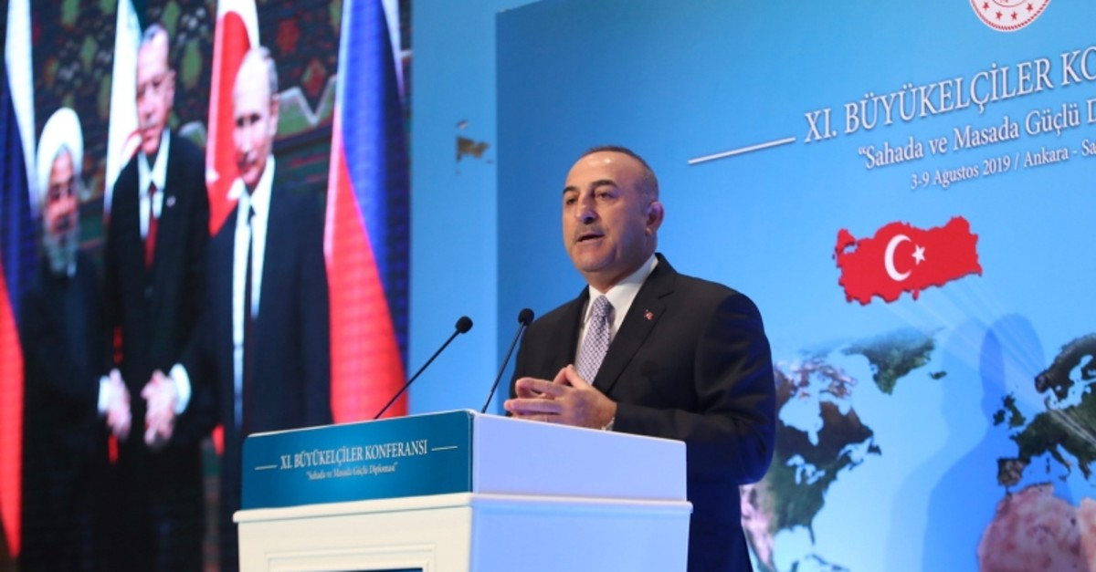 Foreign Minister Mevlu00fct u00c7avuu015fou011flu delivers a speech during the 11th Ambassadors' Conference held by Turkey's Ministry of Foreign Affairs in Ankara, on August 5, 2019. (AA Photo)