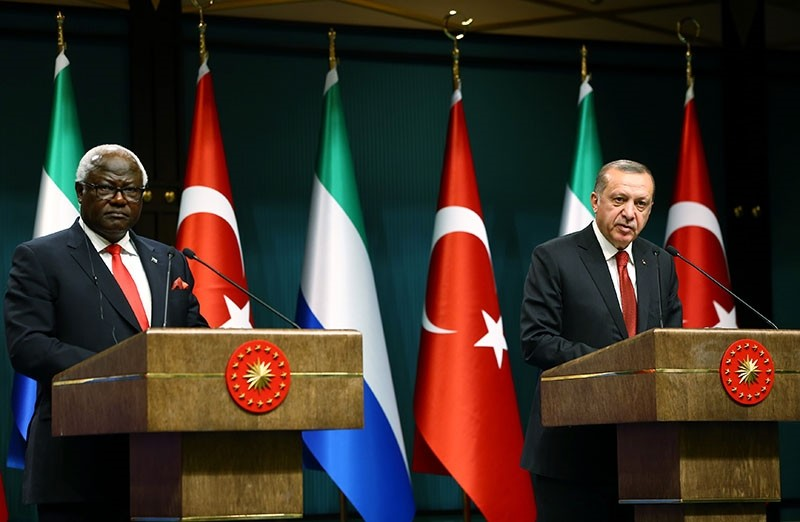President Recep Tayyip Erdou011fan speaks in a joint press conference with President Ernest Bai Koroma of Sierra Leone in Beu015ftepe Presidentital Complex in Ankara, May 10, 2017. (AA Photo)