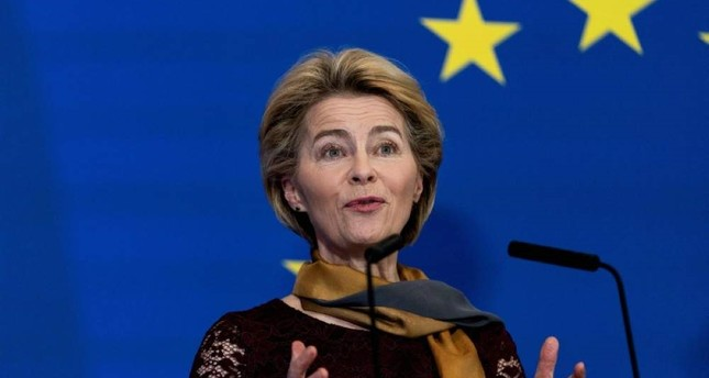 European Commission President Ursula von der Leyen attends a news conference at the House of European History in Brussels to celebrate the 10th anniversary of the Lisbon Treaty on Dec. 1, 2019. (AFP Photo)