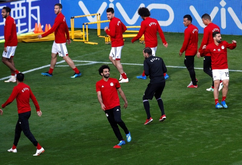 Egypt's Mohamed Salah (2ndL) and teammates train at the Ekaterinburg Arena, Yekaterinburg, Russia, June 14, 2018. (Reuters Photo)