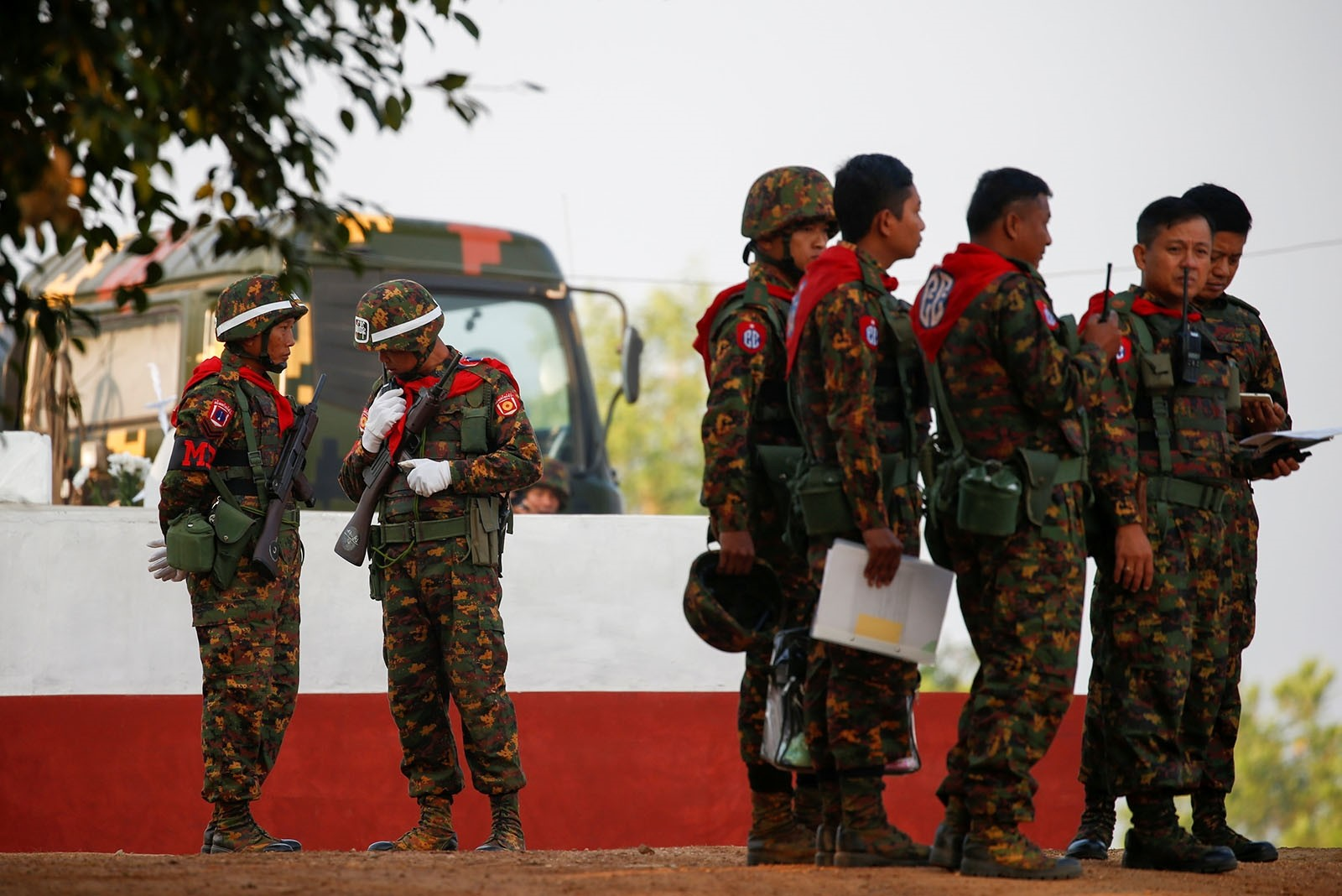 Myanmar military troops take part in a military exercise at Ayeyarwaddy delta region in Myanmar, February 2, 2018.
