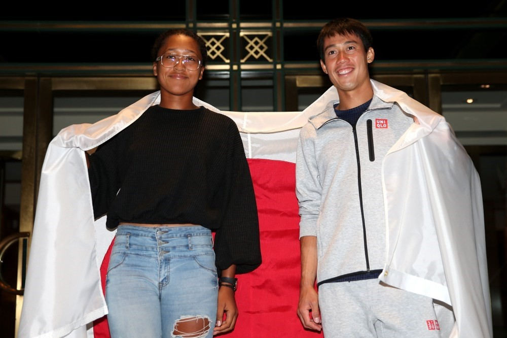 Menu2019s singles semifinalist Kei Nishikori of Japan and womenu2019s singles semi-finalist Naomi Osaka of Japan pose for a portrait outside The Kitano Hotel following their quarterfinal matches on day 10 of the 2018 US Open at Kitano Hotel on Sept. 5, NYC.