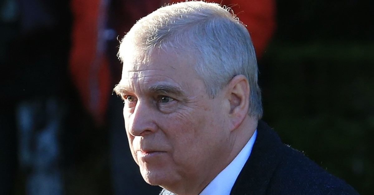 In this file photo taken on January 19, 2020 Britain's Prince Andrew, Duke of York, arrives to attend a church service at St Mary the Virgin Church in Hillington, Norfolk, eastern England. (AFP Photo)