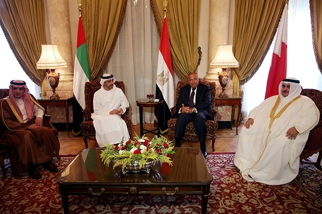 Saudi FM Adel al-Jubeir (L), UAE FM Abdullah bin Zayed al-Nahyan (C-L), Egyptian FM Sameh Shoukry (C-R), and Bahraini FM Khalid bin Ahmed al-Khalifa meet to discuss diplomatic situation with Qatar, in Cairo, Egypt, July 5, 2017. (Reuters Photo)