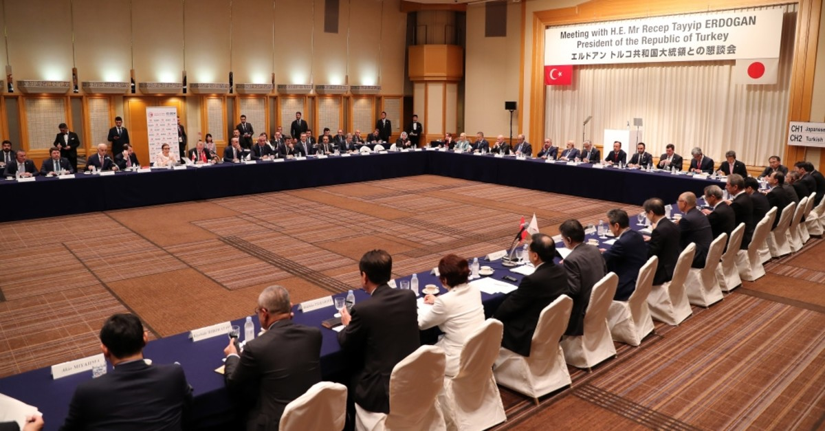 President Recep Tayyip Erdou011fan and Turkish ministers attend the Turkish-Japanese businesspeople meeting organized by Turkey's Foreign Economic Relations Board (DEu0130K) and the Japanese Business Federation in Tokyo, July 1, 2019.