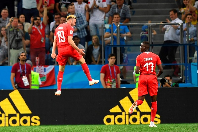Switzerland's forward Josip Drmic (L) celebrates  after scoring his team's second goal  during the Russia 2018 World Cup Group E football match between Switzerland and Costa Rica at the Nizhny Novgorod Stadium on June 27, 2018. (AFP Photo)