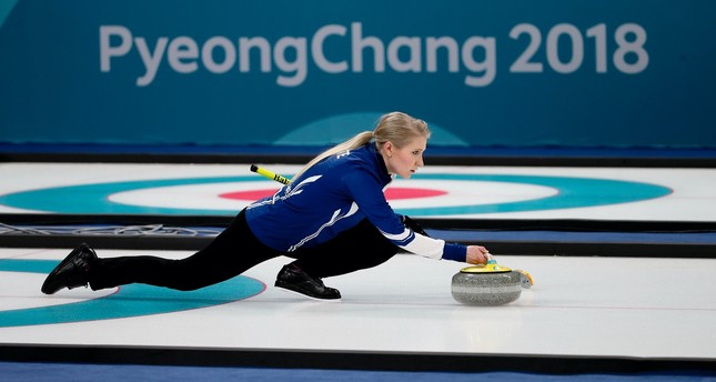 Finland's Oona Kauste throws a rock while training ahead of the 2018 Winter Olympics in Gangneung, South Korea.