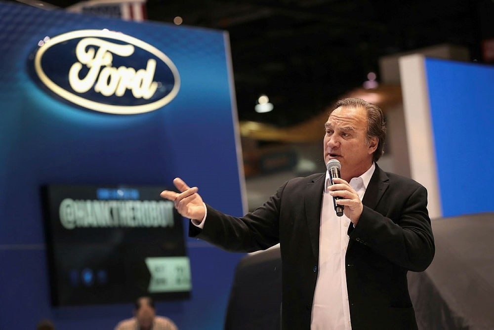 Actor Jim Belushi helps to introduce Ford's 2019 Transit Connect at the auto show.