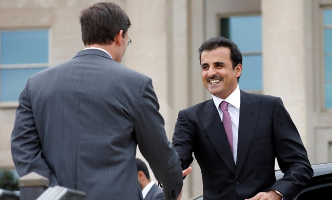 Acting U.S. Defense Secretary Mark Esper L greets Qatar's Emir Sheikh Tamim bin Hamad Al-Thani at Pentagon in Arlington, Virginia, U.S., July 8, 2019. Reuters Photo