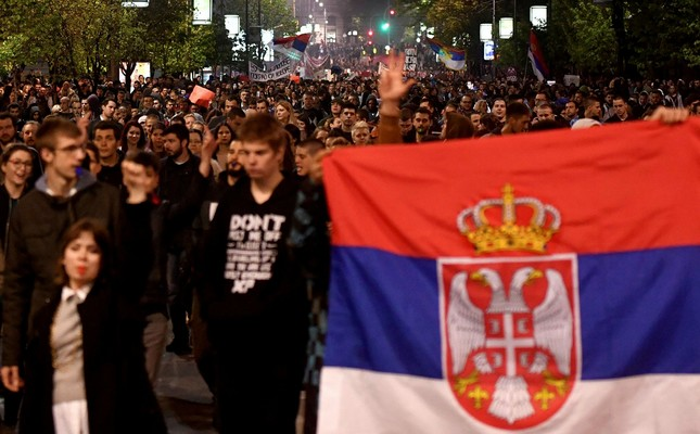 Thousands of Serbs protest against big election victory of PM Vucic