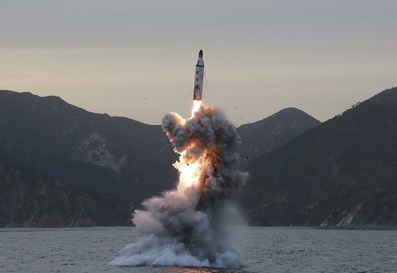 An undated photo released on 24 April 2016 by North Korean Central News Agency (KCNA) shows an 'underwater test-fire of strategic submarine ballistic missile' conducted at an undisclosed location in North Korea (reissued 05 April 2017). (EPA Photo)