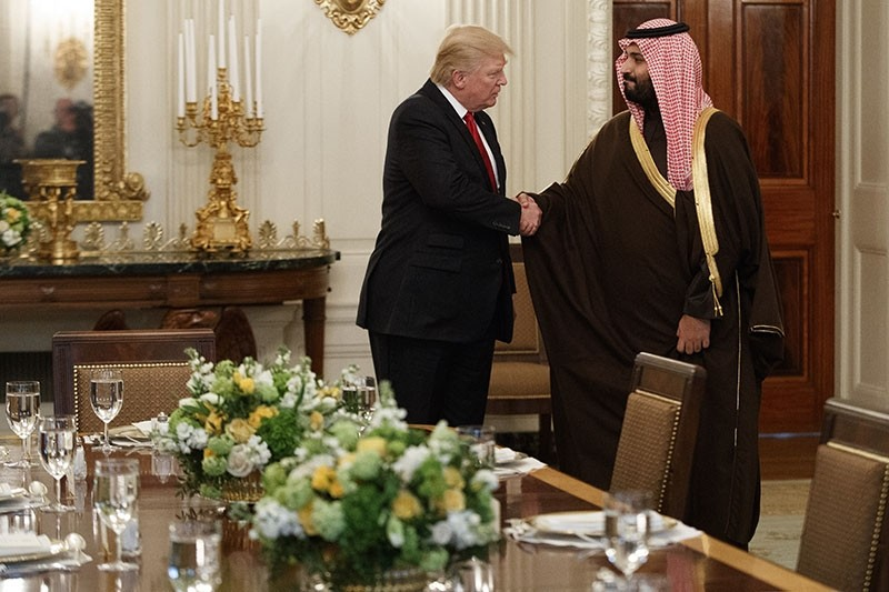 In this March 14, 2017, file photo, President Donald Trump shakes hands with Saudi Defense Minister and Deputy Crown Prince Mohammed bin Salman. (AP Photo)