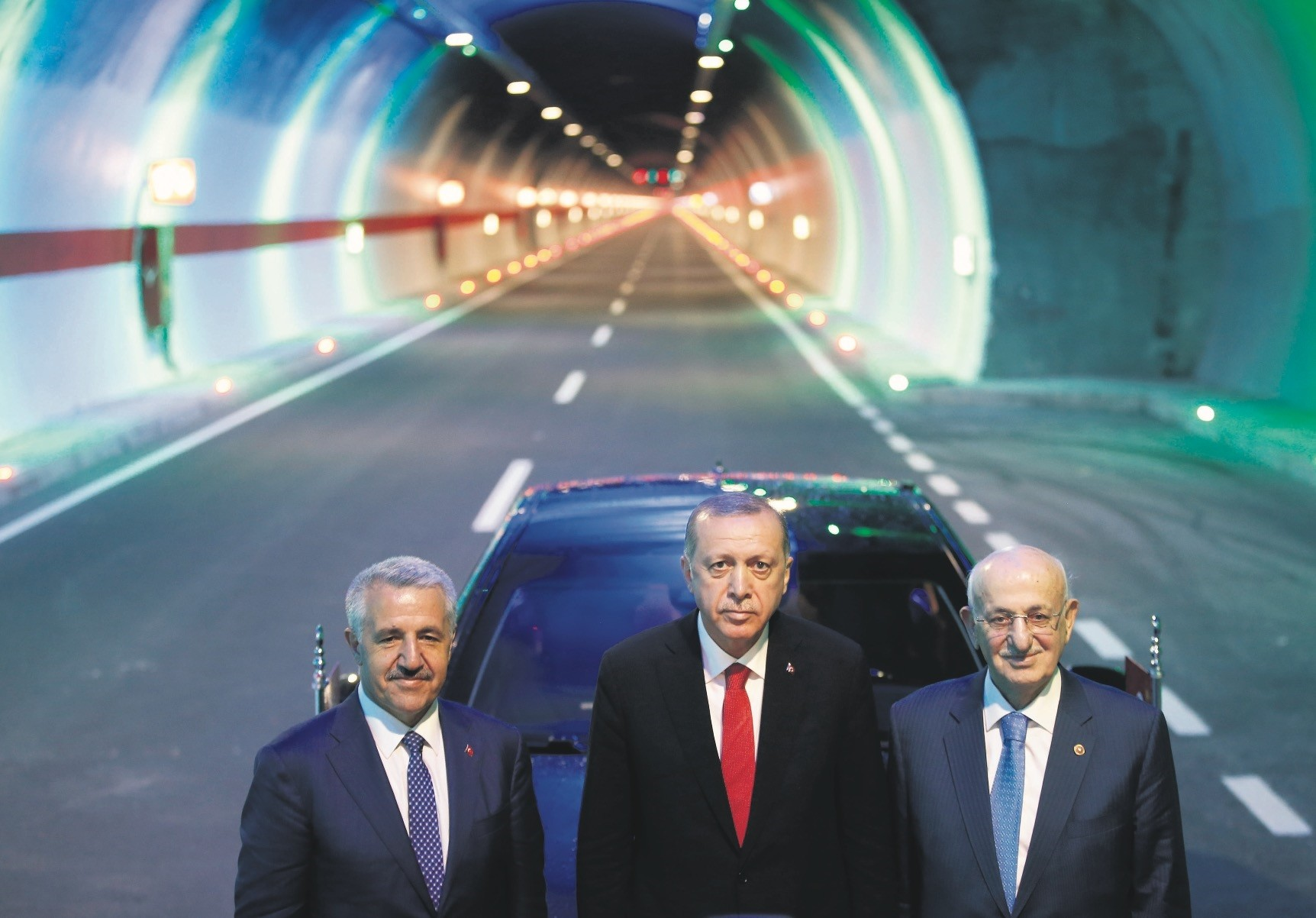 Transportation Minister Ahmet Arslan, President Recep Tayyip Erdou011fan (C) and Parliament Speaker u0130smail Kahraman attended the inauguration ceremony of the Ovit Tunnel, June 13, Rize.