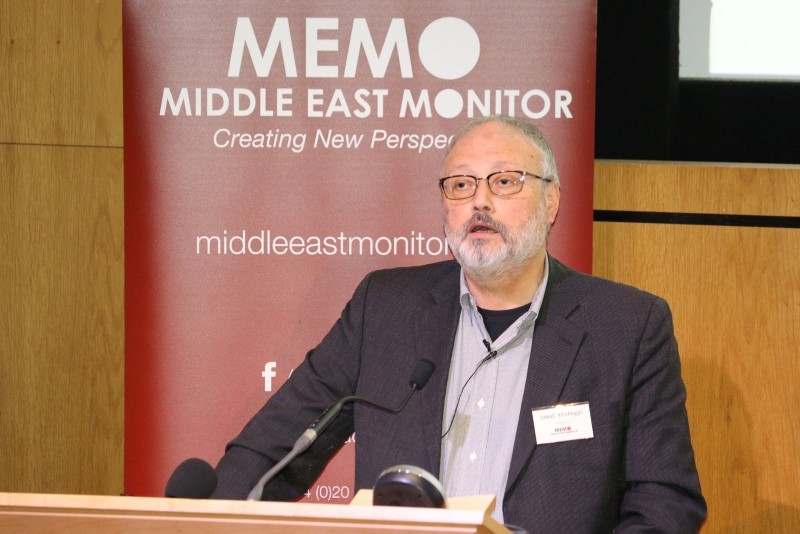 Saudi dissident Jamal Khashoggi speaks at an event hosted by Middle East Monitor in London Britain, September 29, 2018. Picture taken September 29, 2018. (Reuters Photo)