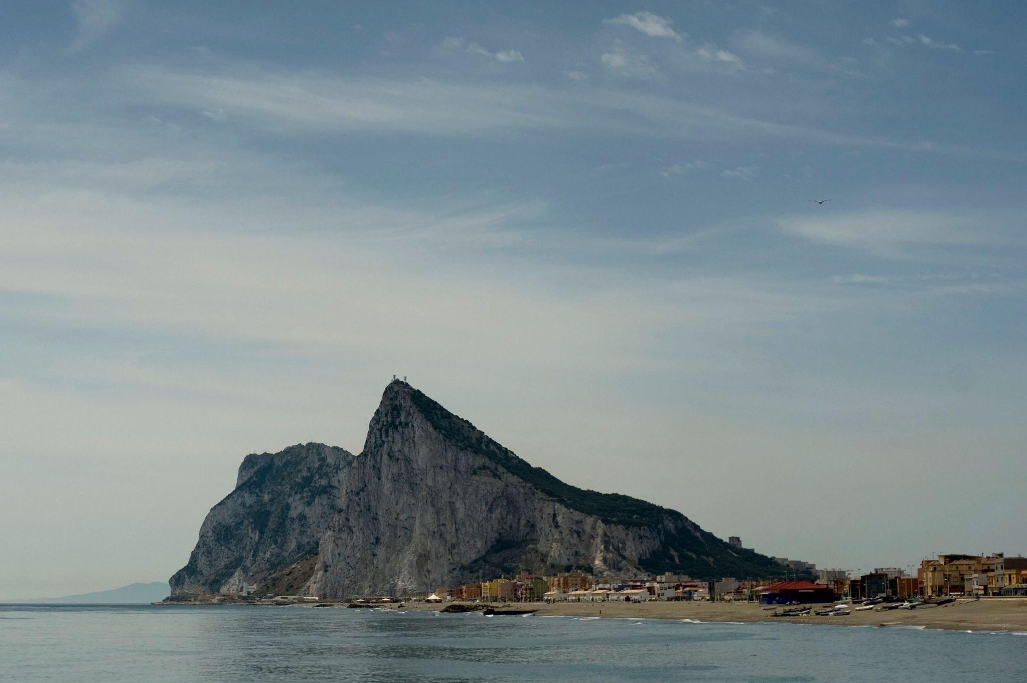 This file photo taken on May 25, 2012 from La Linea de la Concepcion, near Cadiz, shows the Rock of the British colony of Gibraltar. (AFP Photo)
