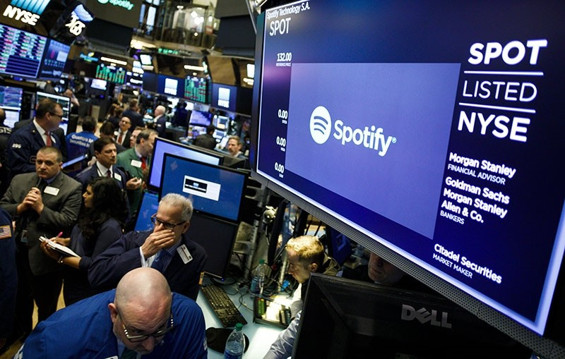 A view of signage for Spotify at the New York Stock Exchange during the company's Initial Public Offering in New York, New York, US, on April 03, 2018. (EPA Photo)