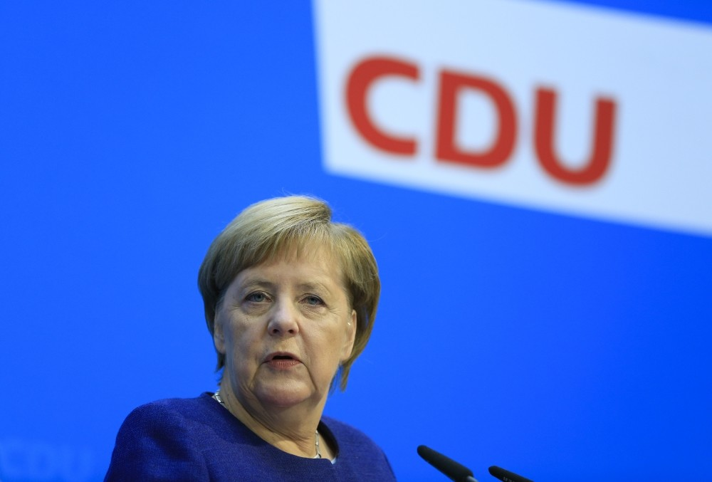 German Chancellor Angela Merkel speaks at a press conference after a  meeting of the federal board of the Christian Democratic Union, Berlin, Nov. 5.
