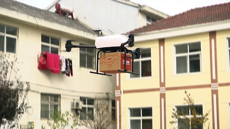 In this image taken from a Nov. 9, 2016 video footage by AP Video, a drone takes off to deliver JD.com parcel from Tiantong'an village near Suqian city in eastern China's Jiangsu province. (AP Photo)