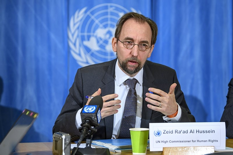 Zeid Ra'ad Al Hussein, UN High Commissioner for Human Rights, answers questions from journalists about the follow-up to the annual report at the Human Rights Council, at the European HQ of the UN in Geneva, Switzerland, March 09, 2018. (EPA Photo)
