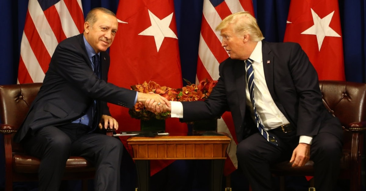 President Recep Tayyip Erdou011fan (L) meets with U.S. President Donald Trump during the U.N. General Assembly in New York, U.S., Sept. 21, 2017.