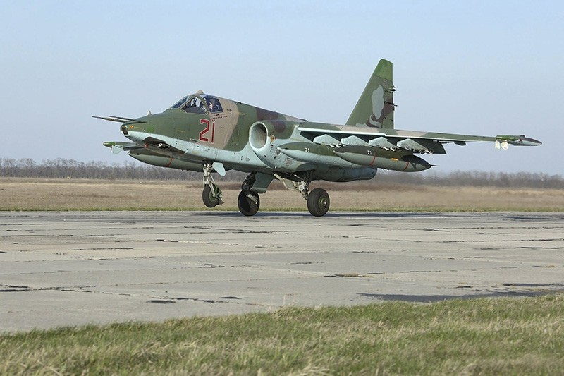 A Russian Sukhoi Su-25 fighter jet arriving from Syria lands at an airbase in Krasnodar region, southern Russia, in this March 16, 2016 handout photo by the Russian Ministry of Defense. (Reuters Photo)