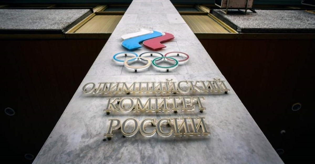 A logo of the Russian Olympic Committee (ROC) on the facade of its headquarters, Moscow, Dec. 6, 2019. (AFP Photo)