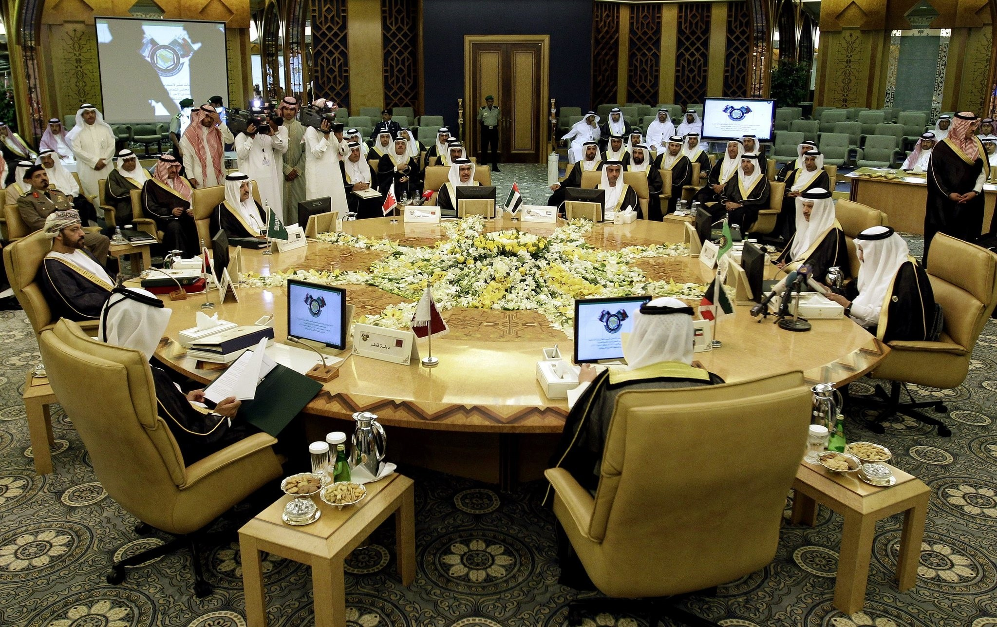 The interior ministers of the Gulf Cooperation Council (GCC) are seen during a meeting in Riyadh, Saudi Arabia on may 2, 2012.